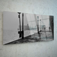 ANY SIZE Wall Art Glass Print Canvas Picture Large Pier Fog Lights Coast p147469