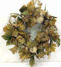 "Fall Pumpkin Wreath w/Birch Balls, Fall Foliage. 22"". Artificial"