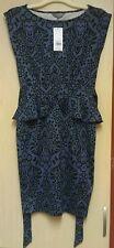 BNWT RRP £25.00 DOROTHY PERKINS stretch bodycon peplum womens dress size 8