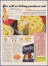 Vintage 1941 PRESTO Cake Flour Dessert Baking Ephemera 40's Print Ad