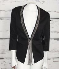 ROCK & REPUBLIC~BLACK~STRETCH *RHINESTONES-BLING CHAINS* COCKTAIL CHIC BLAZER~14