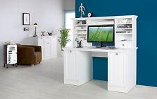 Schreibtisch + Aufsatz Landwood, Schreibtisch, Computertisch, Landhausstil Weiß
