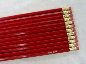 """24 Hexagon """"Red"""" Personalized Pencils"""