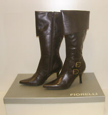 FIORELLI WOMENS POINTY WINTER BOOTS SIZE 7.5 LEATHER LADIES JAYE BROWN rrp $299