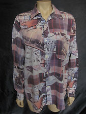 Retro 1980s Vtg. 80s Money Photo Print Oversize Button Blouse ~ Size L