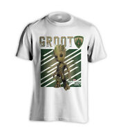 GROOT WOOD GUARDIANS OF THE GALAXY 2 BABY GROOT WHITE T-SHIRT