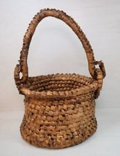 Vintage Collectible Handmade Wicker Knitting Knitted Sewing Basket Deco Art