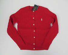 NWT Ralph Lauren Girls RED Mini Cable Cotton Cardigan Sweater Sz 7 8/10 S M NEW