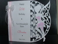 Handmade Personalised Fairy Birthday Card 13th 16th 18th 21st Daughter Sister