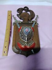 Vtg Coat of Arms Shield Medieval Wall Decor Metal Red Velvet Knight Swords