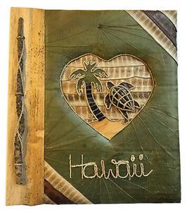 "Hawaiian Handmade Natural Materials 40 Photos Album Honu Heart Palm Hawaii 4""x6"""