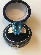 9ct 375 9K Yellow Gold Large Blue And White Topaz Ring Size N Hallmarked