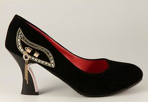 VERO CUOIO Court shoe size 41 black suede with crystal detail tassels 25 cm long