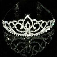 Strass Braut Hochzeit Kristall Haar Krone Stirnband Pageants Kamm Tiara Y1D B2C2