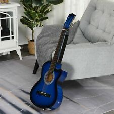 More details for homcom 38in beginner acoustic electric cutaway guitar w/case