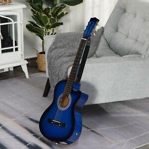 HOMCOM 38in Beginner Acoustic Electric Cutaway Guitar w/Case