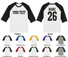 Custom Name & Number Personalized Raglan Baseball T-shirt, STRAIGHT TEXT