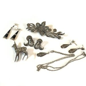 Antique Art Deco Sterling Silver Marcasite Job Lot of Jewellery #128
