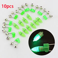 10 X Sea Night Fishing Rod Tip LED Light Clip Twin Bells Bite Indicator Alarm