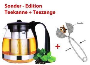 SONDER-EDITION Glas-Teekanne+Teesieb Glaskanne Tee-Kännchen Teekännchen