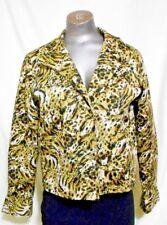 Transittions Animal Print size M Black & Green Cotton Open Front Blazer Jacket