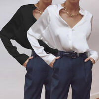 Plus Size Women Blouse Silky Office Shirt Ladies Party Satin Button Baggy Top UK
