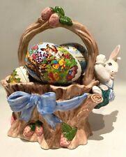Vintage 1991 Fitz & Floyd Bunny Basket w Paper Eggs Rare
