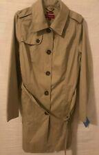 Merona Womens Trench Coat Sz XL Khaki Rain Coat Jacket Nanotex All Condition NEW
