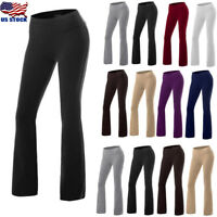 Women's Thin Elastic Solid High Waist Flare Pants Palazzo Bell Bottom Yoga Pants