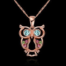 Adorable Owl Rose Gold Girls Women Chain Necklace Best Valentine Jewelry Gift