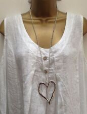 Lagenlook Silver Colour Long Big Abstract Heart Necklace Pendant