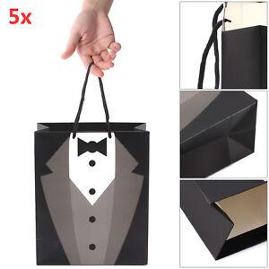 5X Paper Groomsmen Tuxedo Thank You Gift Bags Black Wedding Bridal Party Decor