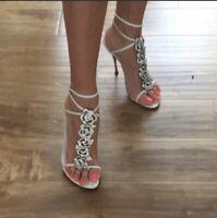 Sergio Rossi Royal Nude Bride White Sandal Size 37EU/7US-NWD