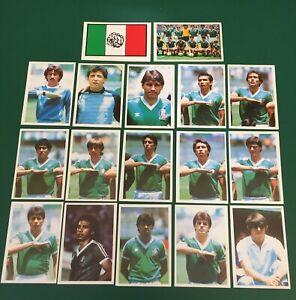 LOTTO DI 17 FIGURINE CALCIATORI CALCIO FLASH WORLD CUP MEXICO 86 TEAM MESSICO
