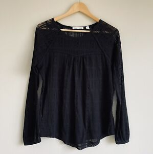 Country Road Size S Black Sheer Long Sleeve Blouse