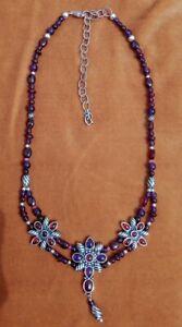 Rare Carolyn Pollack Signature Collection Necklace Amethyst, Garnet, Rose quartz