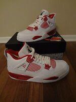 Nike Air Jordan IV 4 Retro Alternate 89 Size 11.5 White Black Gym Red 308497 106
