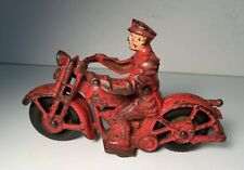 """Vintage Hubley Cast Iron Red Patrol Motorcycle W/ Driver 6.5"""""""