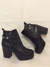 Sixty Seven Black Ankle Leather Boots Size 38
