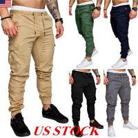 US Men's Slim Fit Urban Straight Leg Trousers Casual Military Cargo Jogger Pants