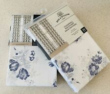 (2) Bee & Willow Clearwell Rod Pocket Curtains Farmhouse Blue Shabby Chic Floral