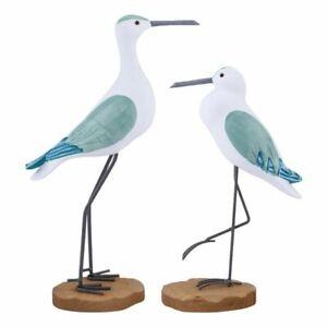 Wooden Seagull 2pcs Mediterranean Home Desktop Decoration Bird Craft Figurines