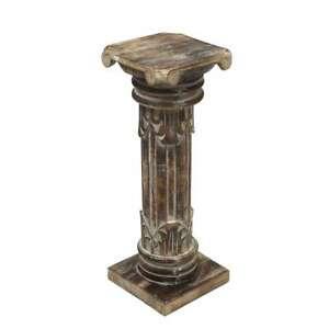 Antike Dekosäule Säule Blumensäule Ständer Sockel Podest Holz Brownwash 60 cm