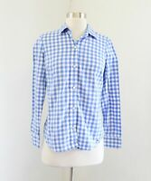 Vineyard Vines Womens Blue White Plaid Button Front Blouse Shirt Size 00