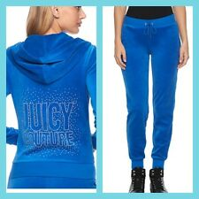 New Women's Juicy Couture Tracksuit Blue Velour Hoodie Jogger Pants Sm S 2pc Set