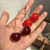 Cute Sweet Simulation Red Cherry Fruit Stud Earrings For Women Girl Jewelry Gift