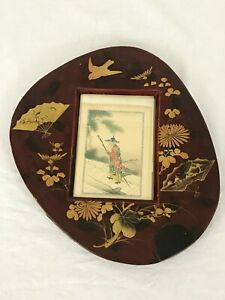 Picture Frame Japanese Reddish Brown Lacquer Gold Birds and Flowers Early 20th C