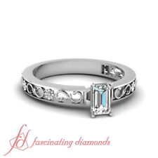 3/4 Carat Emerald Cut Diamond Pierced Flower Carved Solitaire Engagement Rings