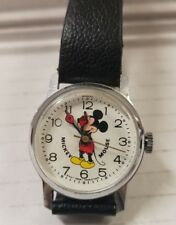 Vintage Bradley Mickey Mouse Watch Mechanical Hand Winding -D33S- Womans ☆Nice☆