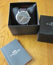 Men's COACH Watch W1545 Leather Brown/Black Strap  NWT Wristwatch